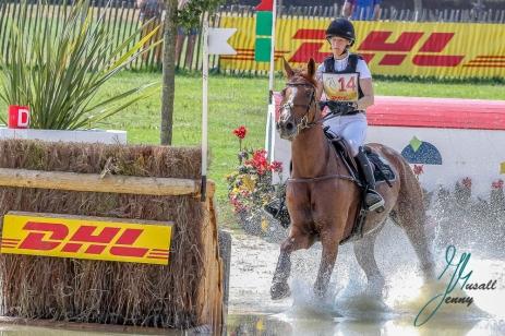 KRAJEWSKI, Julia (GER) mit Samourai du Thot DHL-Preis, Teilpruefung Gelaende, Gelaendestrecke Soers, 21.07.2018