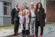Cast vom Tatort Muenster. Jan Josef Liefers (Kral Friedrich Boerne), Axel Prahl (Kommissar Frank Thiel), Bjoern Meyer (Mirko Schrader), Christine Urspruch (Silke Haller), Claus D. Clausnitzer (Herbert Thiel/ Vadder), Mechthild Grossmann (Wilhelmine Klemm)