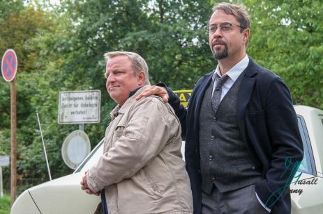 Cast vom Tatort Muenster. Axel Prahl (Kommissar Frank Thiel) und Jan Josef lieferd (Prof. Karl Friedrich Boerne).